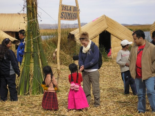 Playing with the kids on The Uros Floating Islands, Lake Titicaca