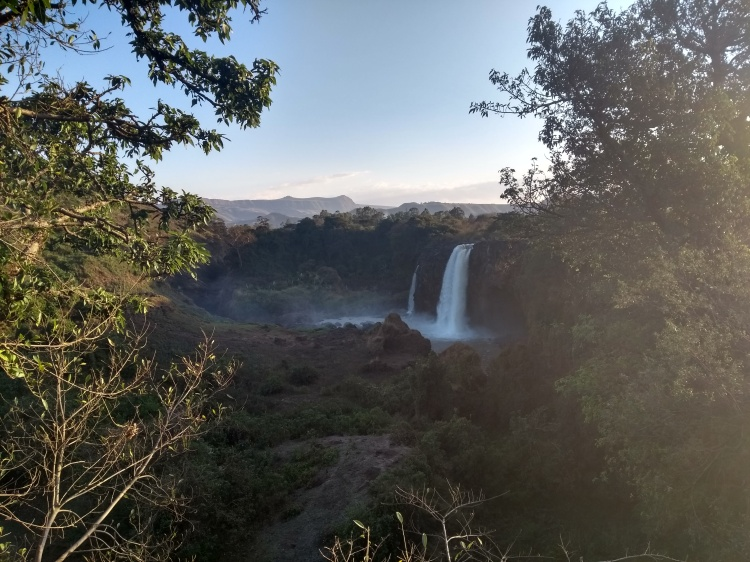 blue nile falls in lush valley