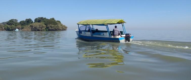 Boat on Lake Tana, heading to a monastery on an island