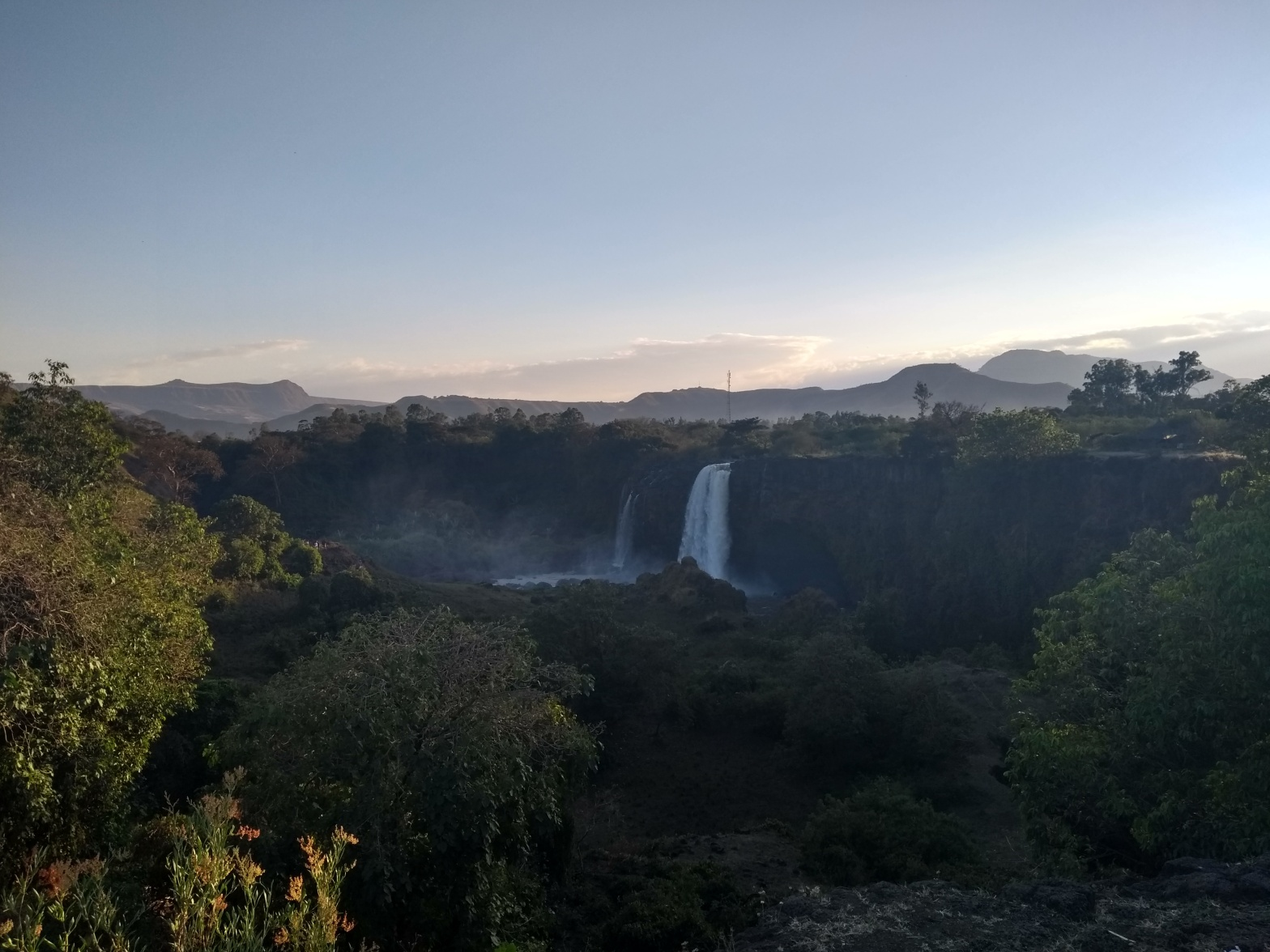 blue nile falls in a lush valley